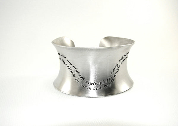 Anticlastic aluminum massive cuff bracelet with a wave of inspiration, NiciArt