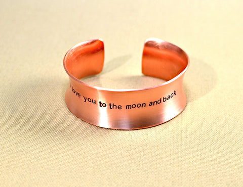 Anticlastic copper cuff bracelet I love you to the moon and back, NiciArt