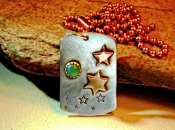 Sterling Silver Necklace with Celestial Themed Stars and Green Moon Jade