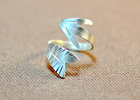 Twisted sterling silver arrow bypass ring, NiciArt