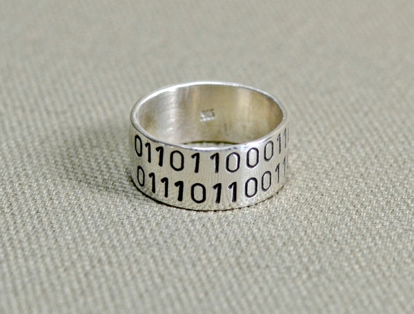 Sterling silver ring with binary code or personalized message