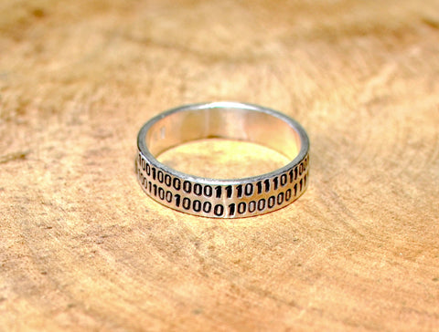 Love you binary code sterling silver ring