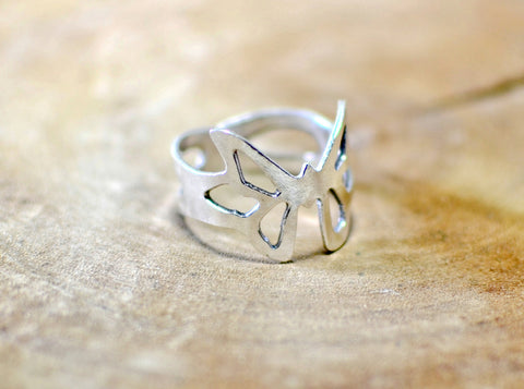Sterling silver Art Deco butterfly ring with cut outs, NiciArt