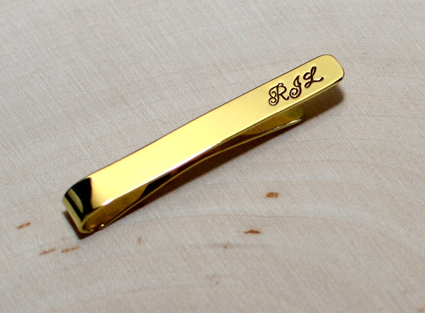 Brass tie bar with personalized initials, NiciArt