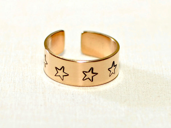 Bronze toe ring with stars, NiciArt