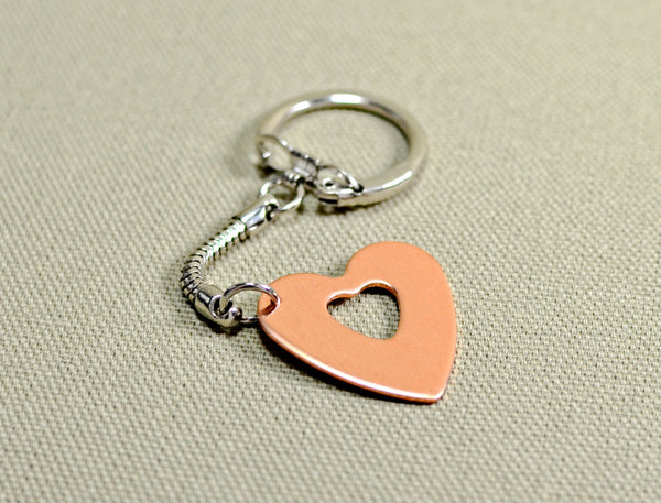 Personalized copper heart keychain for Mothers Day or love