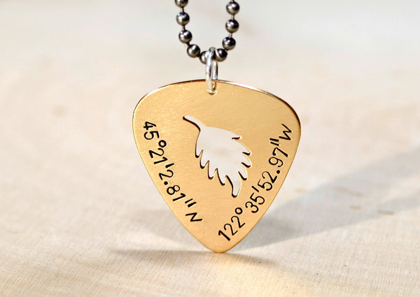Custom guitar pick pendants and necklaces with personalized cut outs