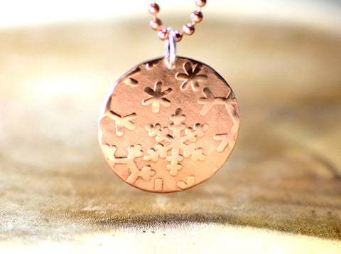 Hammered copper snowflake disc necklace, NiciArt