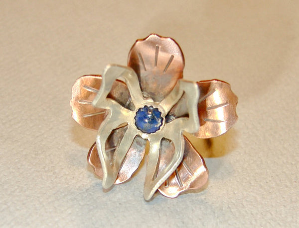Sterling Silver Butterfly on Copper Flower Cocktail Ring with Genuine Lapis