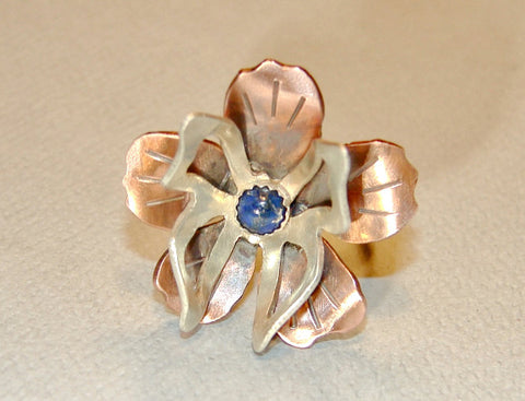 Sterling Silver Butterfly on Copper Flower Cocktail Ring with Genuine Lapis, NiciArt