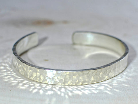 Sterling silver hammered massive cuff bracelet with shimmer and shine, NiciArt