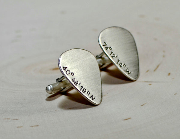 Latitude longitude guitar pick sterling silver cuff links
