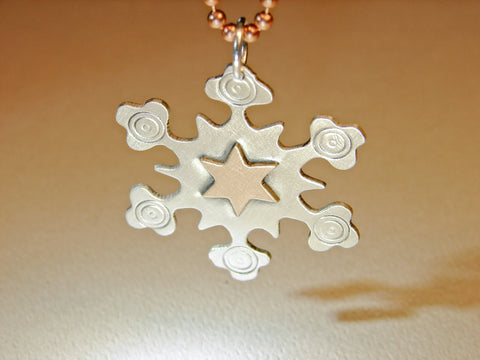 Snowflake pendant in sterling silver with bronze star, NiciArt