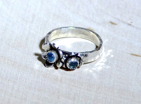 Sterling Silver Ring with Flowers and Blue Topaz, NiciArt