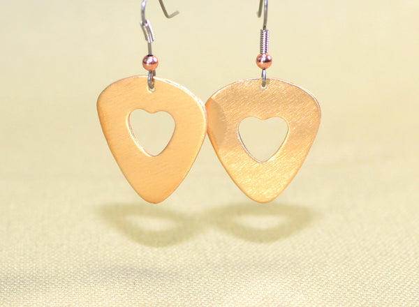 Bronze guitar pick earrings with heart cut outs, NiciArt