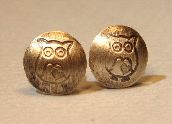 Sterling Silver Owl Stud Earrings with Little Hearts Handmade with Extra Hoot