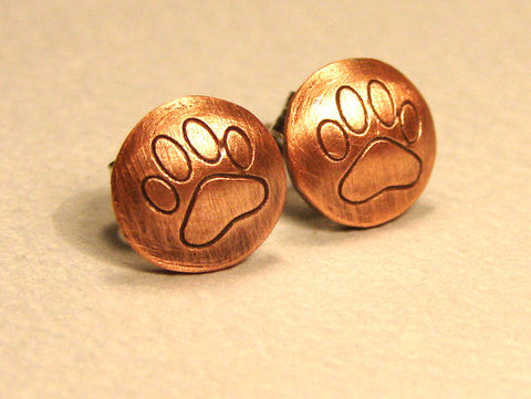 Copper Paw Print Stud Earrings, NiciArt