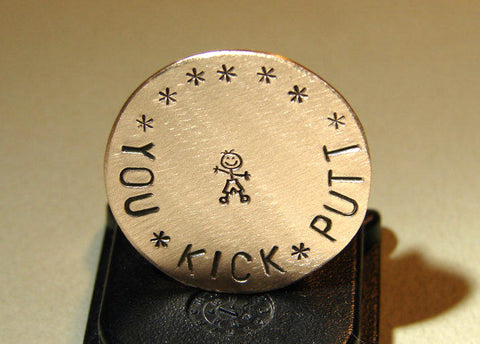Bronze golf marker you kick putt boy's edition, NiciArt