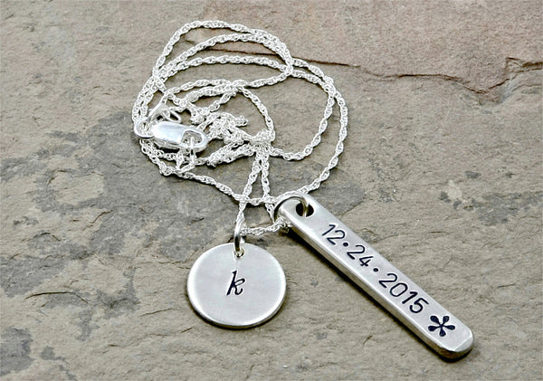 Personalized Dainty Bar Necklace with Disc Charm in Sterling Silver