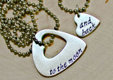 Couples sterling silver guitar pick necklace bridging distance with music, NiciArt
