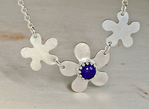 Multi Flower Sterling Silver Necklace with Blue Lapiz