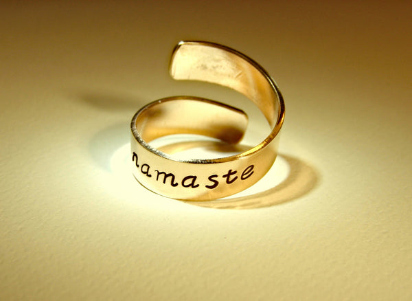 Namaste 14K gold bypass ring