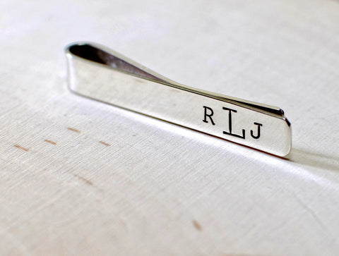 Sterling silver tie bar with personalized monogram, NiciArt
