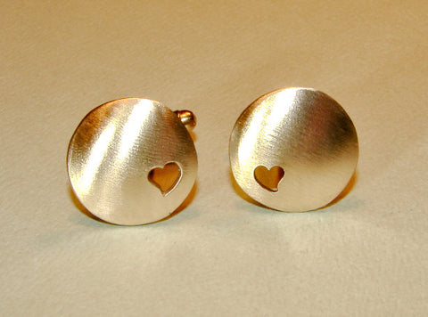 Bronze cuff links with heart cut outs handmade with love, NiciArt