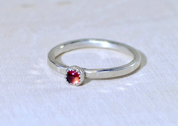Sterling silver hammered stack ring with red Garnet