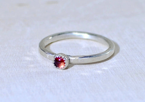 Sterling silver hammered stack ring with red Garnet, NiciArt