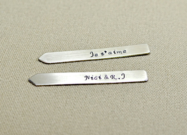 "Je'Taime Sterling Silver Collar Stays in the ""Language of Love"" aka French"