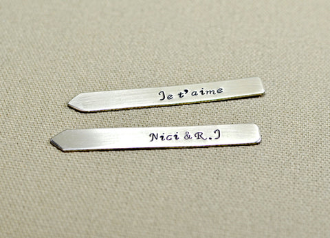 "Je'Taime Sterling Silver Collar Stays in the ""Language of Love"" aka French, NiciArt"