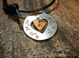 Latitude longitude aluminum necklace with heart and bronze charm, NiciArt