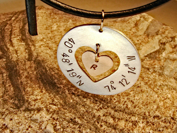 Latitude longitude aluminum necklace with heart and bronze charm