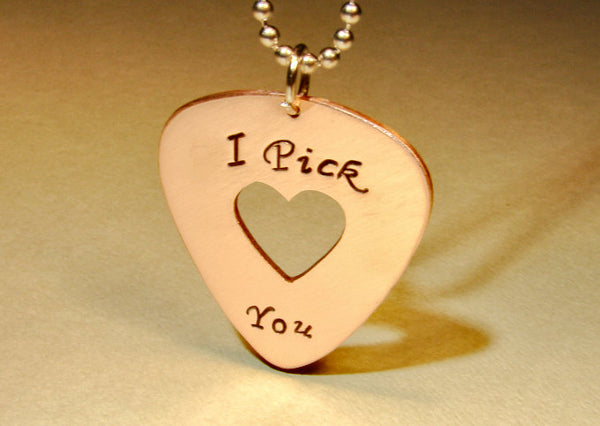 I pick you copper guitar pick necklace with heart