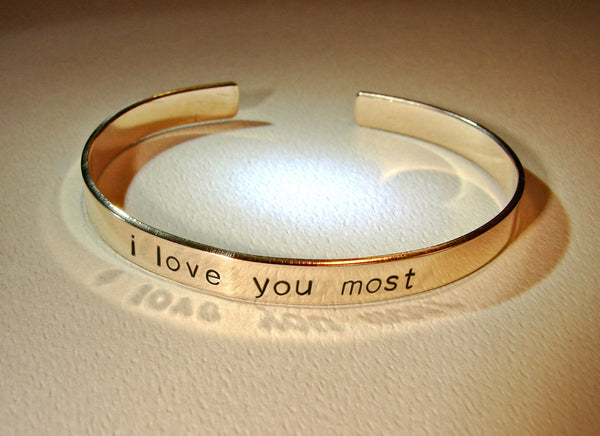 Bronze cuff bracelet with love you most, NiciArt