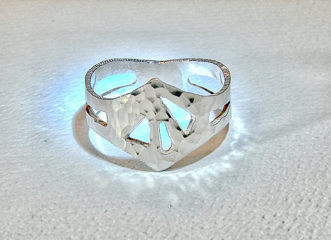 Hammered king ring handmade from sterling silver in crown shape, NiciArt