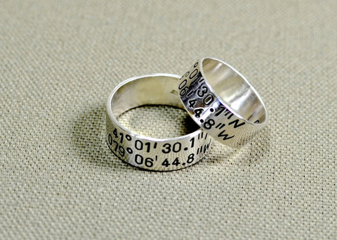 Latitude longitude sterling silver wedding bands, NiciArt