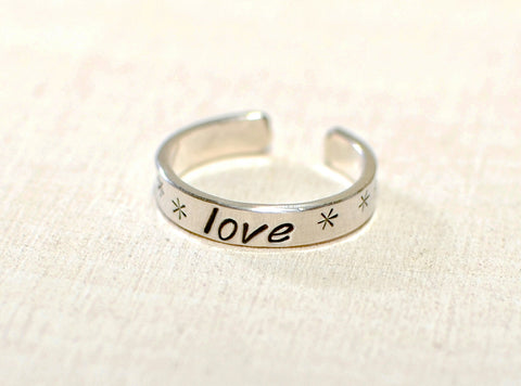 Sterling silver toe ring with lots of love, NiciArt