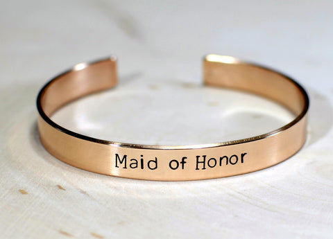 Bronze maid of honor cuff bracelet, NiciArt