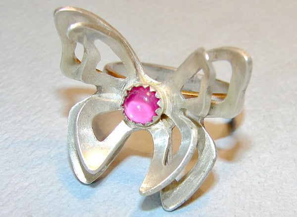 Sterling silver butterfly on flower ring with pink ruby