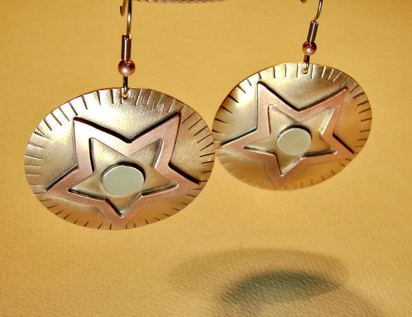 Star earrings fusing bronze with sterling silver and copper