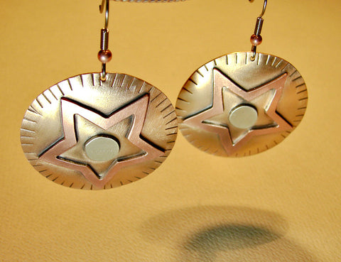 Star earrings fusing bronze with sterling silver and copper, NiciArt