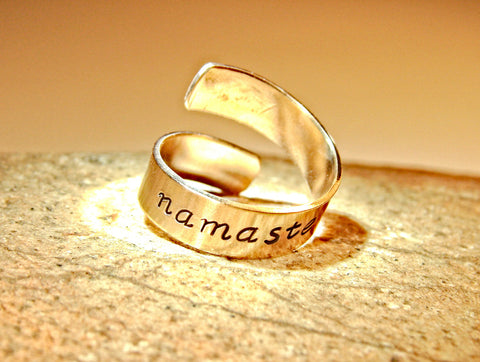 Bronze namaste adjustable wrap ring, NiciArt