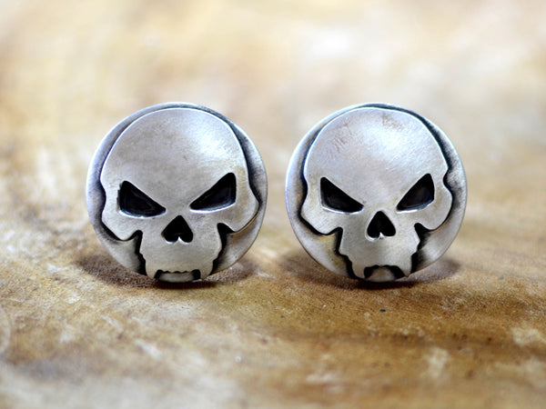 Bad ass skull cuff links in sterling silver, NiciArt
