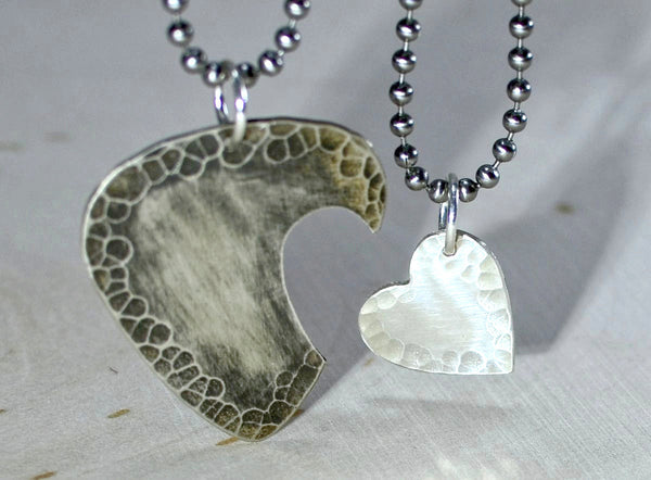Sterling silver couples necklace with guitar pick and interlocking heart