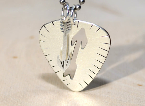 Guitar pick and arrow necklace in sterling silver