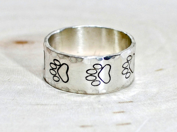 Sterling Silver Paw Print Ring with Hammered Edges