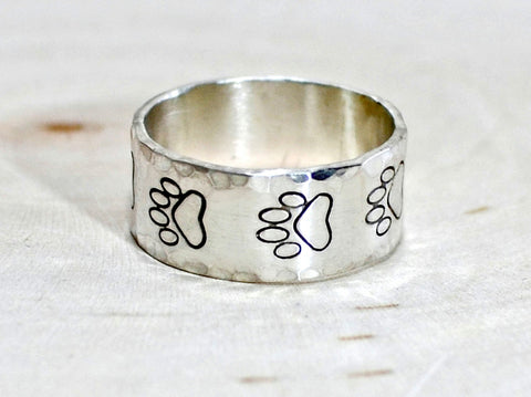 Sterling Silver Paw Print Ring with Hammered Edges, NiciArt
