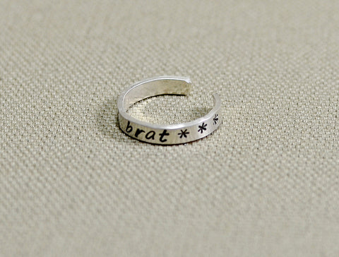 Spoiled brat sterling silver toe ring, NiciArt
